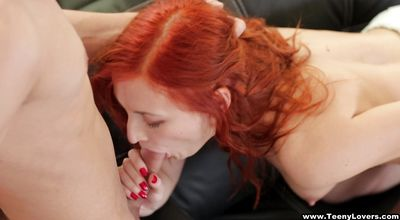 Prurient young Eva Berger gave a blowjob to lover
