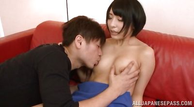 Voracious girlie Nomiku Abe and mate are secretly having sex while they are home alone