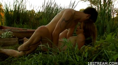 Seductive redhead girlfriend is cheating on with dude every once in a while