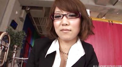 Mischievous nipponese Chihiro Mochizuki lets dude play with her curvy body