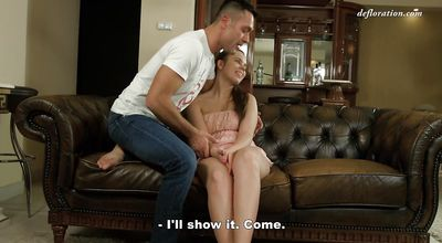 Succulent brunette Rebeca Brown bends over to be banged with passion