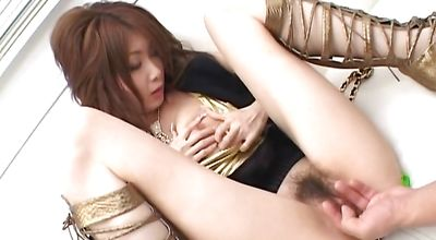 Horny oriental Rika Sakurai enjoys riding a big and hard schlong