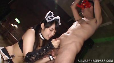 Appetizing eastern woman Ruka Kanae uses her tits and pussy to please him