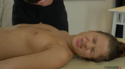 Aroused maid Emma Brown is gently rubbing her perfect gash to get ready for playmate's shlong