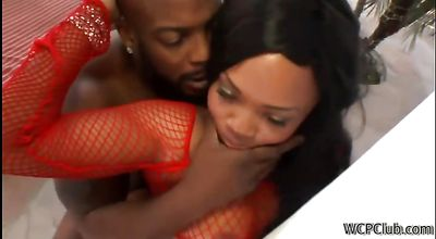 Delectable brunette ebony chick Jayden Starr getting what her pussy lips deserve