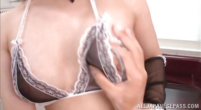 Engaging Yui Sasaki teases a schlong with her amazing natural boobs
