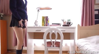 Vigorous teen beauty Tsukasa Aoi eagerly receives a thick meat from behind