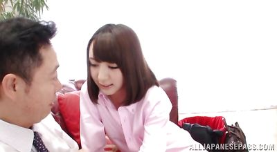 Insatiable young asian honey Hitomi Fujiwara spreads wide for a big boner