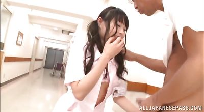 Cheerful young oriental Arina Sakita takes pleasure working a hard boner