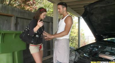 Slender barely legal Lily Carter is getting banged hard from the back while standing against the wall