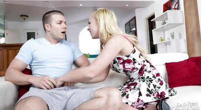 Pretty blonde minx Bailey Brooke with big tits gags on a perfect packing monster